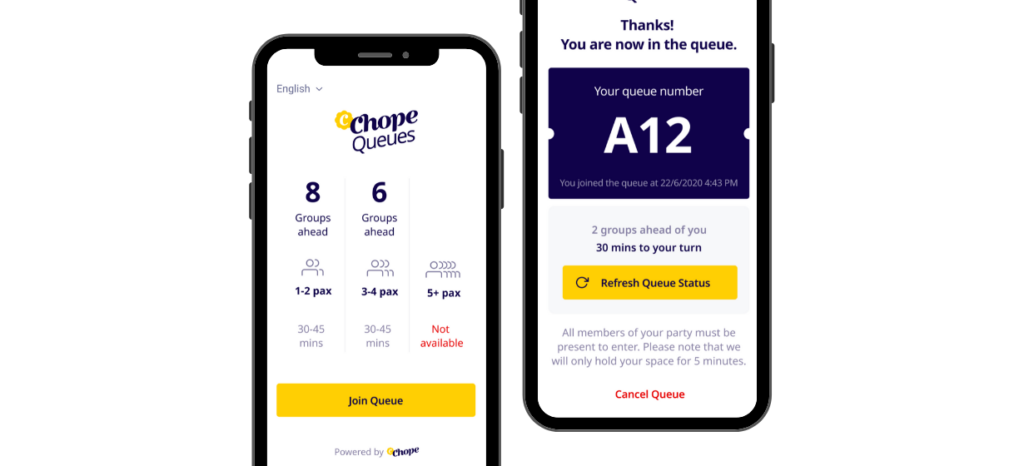 chopequeues virtual queue diner mobile updates