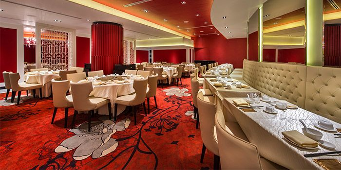 Interior of TAO Seafood Asia in Asia Square in Raffles Place, Singapore
