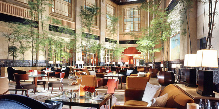 Interior of The Courtyard at The Fullerton Hotel Singapore in Raffles Place, Singapore