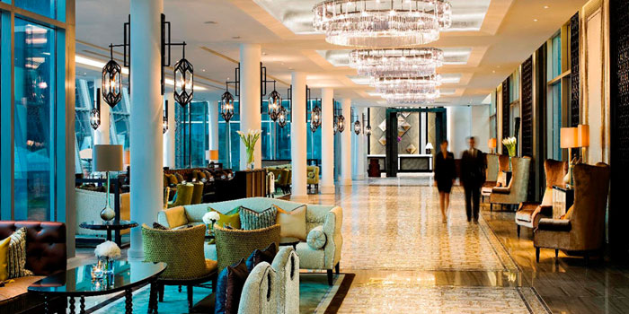Interior of The Landing Point in Fullerton Bay Hotel, Singapore