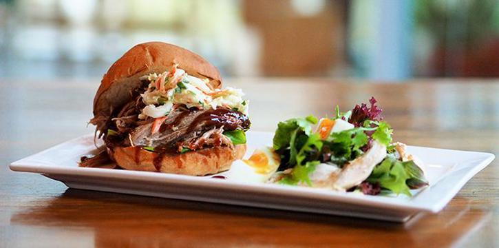 Slow Roasted Pulled Pork Burger from Food For Thought in the National Museum of Singapore in Dhoby Ghaut, Singapore