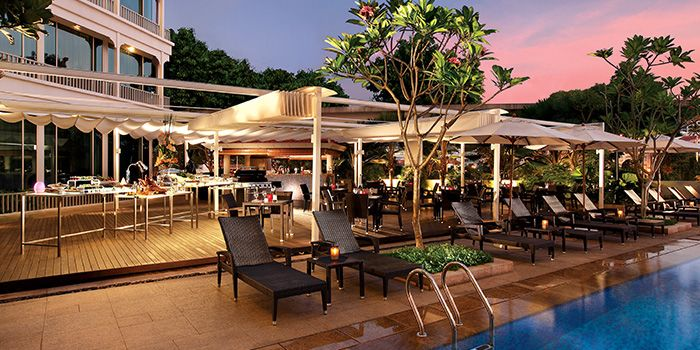 Poolside of Cocobolo Poolside Bar + Grill at Park Hotel Clarke Quay in Robertson Quay, Singapore