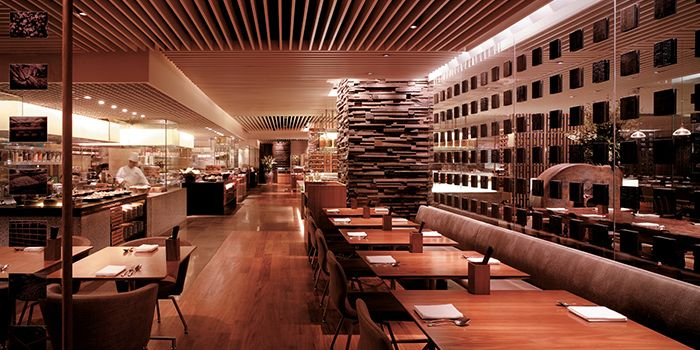 Interior of StraitsKitchen in Grand Hyatt in Orchard, Singapore