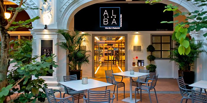 Exterior of ALBA 1836 Italian Restaurant in Duxton, Singapore