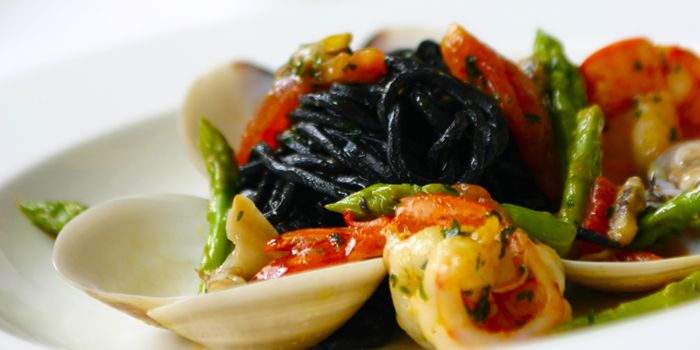 Black Home Made Spaghetti from Gianni Ristorante in Ploenchit, Bangkok