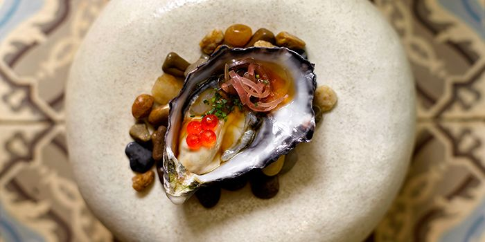 Oysters with Jalapeno Ponzu from Esquina in Chinatown, Singapore