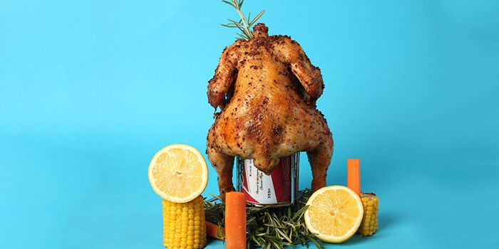 Beer Can Chicken from OverEasy in Fullerton, Singapore