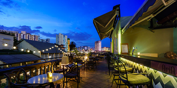 Bar Area of Aria Roofbar at The Scarlet Hotel on Ann Siang Hill in Tanjong Pagar, Singapore