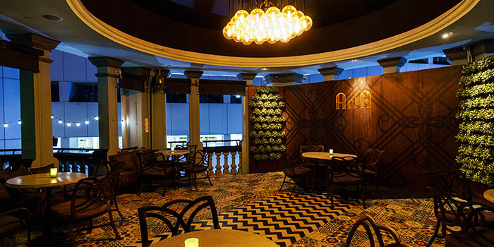 Interior of Aria Roofbar at The Scarlet Hotel on Ann Siang Hill in Tanjong Pagar, Singapore