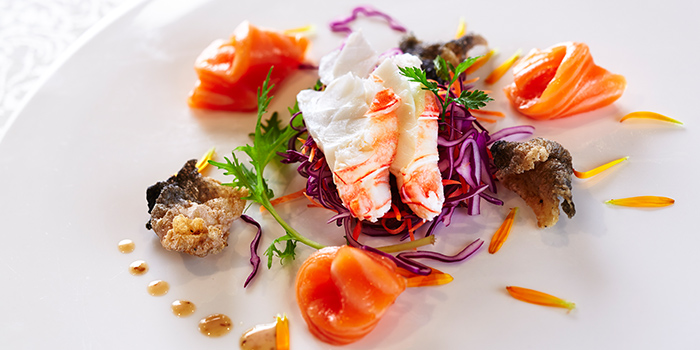 Chilled Lobster Salad with Salmon from Hai Tien Lo in Pan Pacific Singapore in Promenade, Singapore