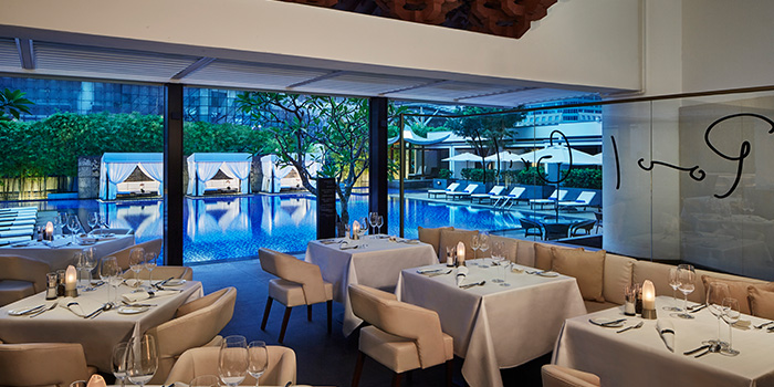Interior of Pool Grill in Marriott Tang Plaza Hotel Singapore in Orchard, Singapore