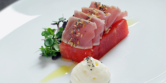 Rare Yellow Fin Tuna Tataki from Pool Grill in Marriott Tang Plaza Hotel Singapore in Orchard, Singapore