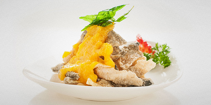 Salted Egg Yolk Crispy Fried Fish Skin from TAO Seafood Asia in Asia Square in Raffles Place, Singapore