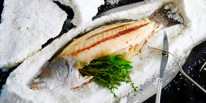 Whole Mediterranean Sea Bass Baked in Rock Salt Crust from LORD JIM