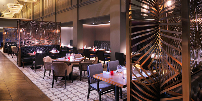 Evening Interior of Ash & Elm in InterContinental Singapore in Bugis, Singapore