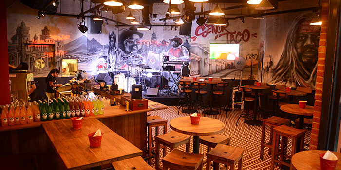 Interior of Senor Taco in Clarke Quay, Singapore