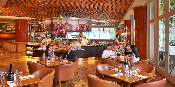 Interior of Town at The Fullerton Hotel Singapore in Raffles Place, Singapore