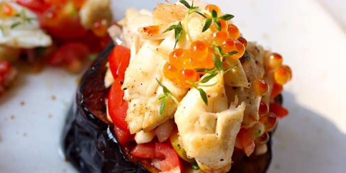 Baked Eggplant, Tomato Salsa, Crab Meat from Toby