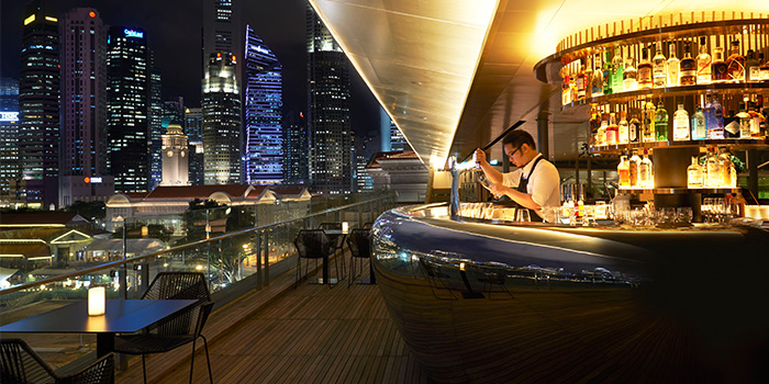 Bar Overlooking City View from Smoke and Mirrors in National Gallery Singapore at City Hall, Singapore