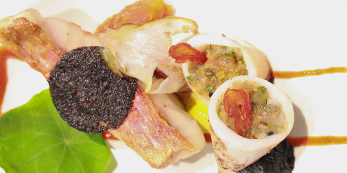 Squid Ink Bread Crusted Red Mullet from J
