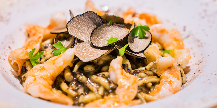 Trofie Pasta with Truffle Pesto & Prawns from Aura at National Gallery Singapore in City Hall, Singapore