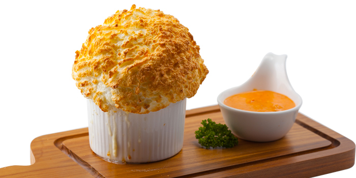 Crab Souffle Served With Pink P rawn Saucefrom Kelly by Audrey Central Plaza Ladprao, Bangkok