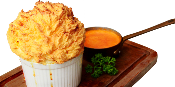 Crab Souffle served with Lobster Brandy Sauce from  Audrey Cafe des Fleur at The EmQuartier, Bangkok