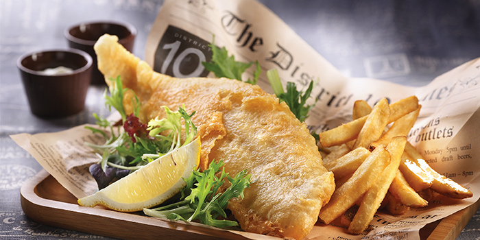 Fish and Chips from District 10 in UE Square in Robertson Quay, Singapore