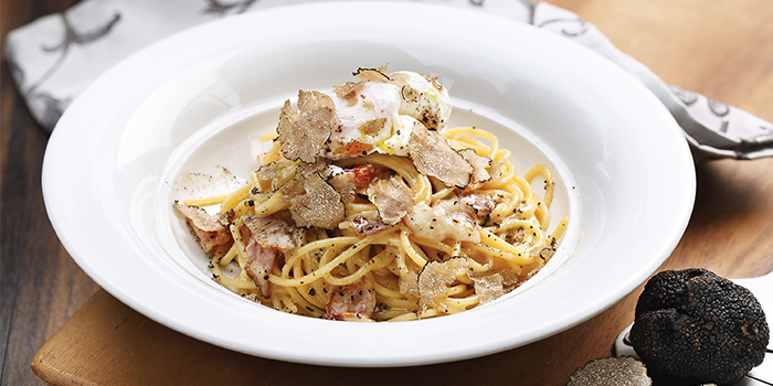 Spaghetti Carbonara from District 10 in UE Square in Robertson Quay, Singapore