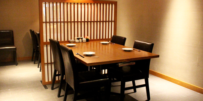 Dining Area of Hanashizuku Japanese Cuisine at Cuppage Plaza in Orchard, Singapore