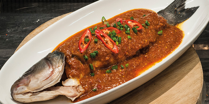 Steamed Nonya Barramundi from Fremantle Seafood Market in Clarke Quay, Singapore