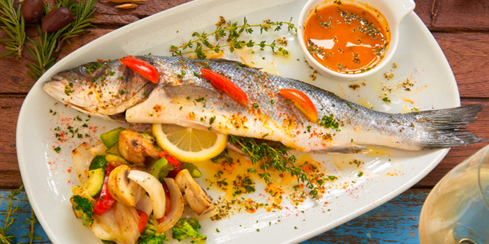 Grilled Lavraki from AVRA Authentic Greek Restaurant in Sukhumvit Soi 33, Bangkok