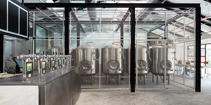 Brewing Tanks of Little Island Brewing Co. in Changi, Singapore