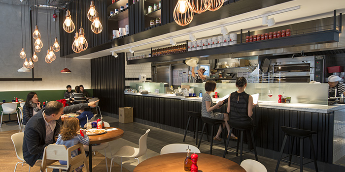 Interior of PizzaExpress One Island South, Wong Chuk Hang, Hong Kong