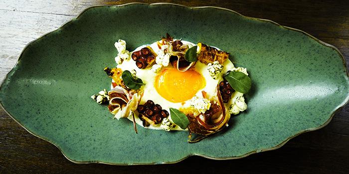 Jamon Iberico with Potato Espuma & Organic Egg Yolk from Chef