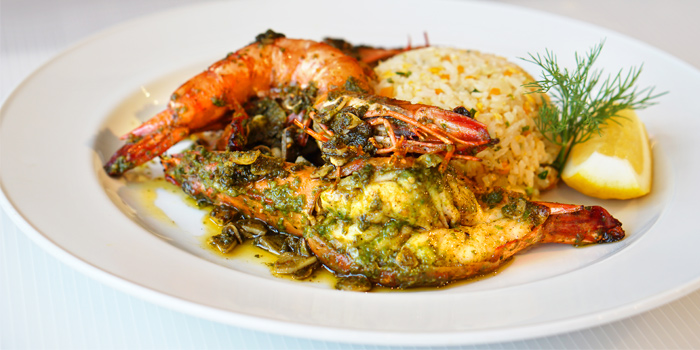 Pesto Prawns served with Vegetable Fried Rice from Les Diables in Boat Lagoon, Koh Kaew, Muang Phuket, Thailand
