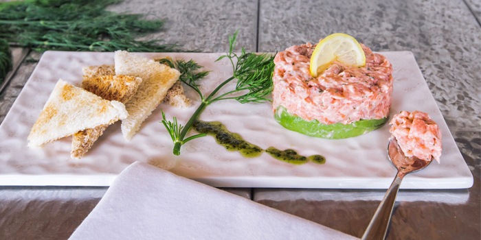 Smoke Salmon Tartar from Palm Seaside on Bangtao Beach, Phuket, Thailand