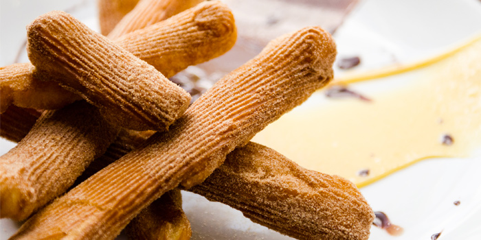 Spanish Churros with Passion Fruit & Chocolate Sauce from Rustic-Eatery & Bar in Patong, Kathu, Phuket, Thailand