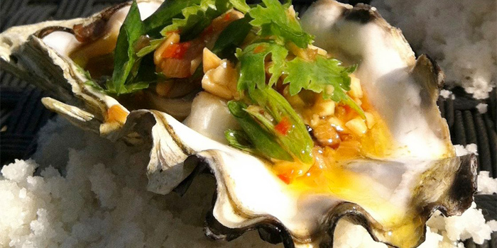 Steamed Japanese Oyster with Chili, Garlic, Peanut and Lime from Breeze at Cape Yamu in Paklok, Thalang, Phuket, Thailand
