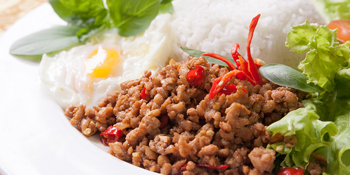 Basil Chicken Rice from Rattana Thai Restaurant in Tanjong Pagar, Singapore