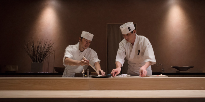 Chefs At Sushi Counter from Sushi Zo at Athenee Tower, Bangkok