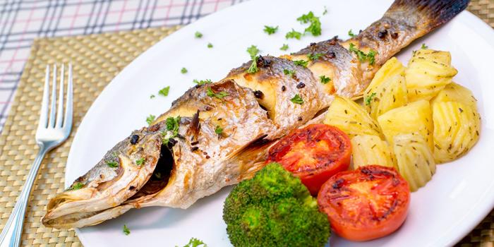 Grilled Seabass from Capri Noi Restaurant in Karon, Phuket, Thailand.