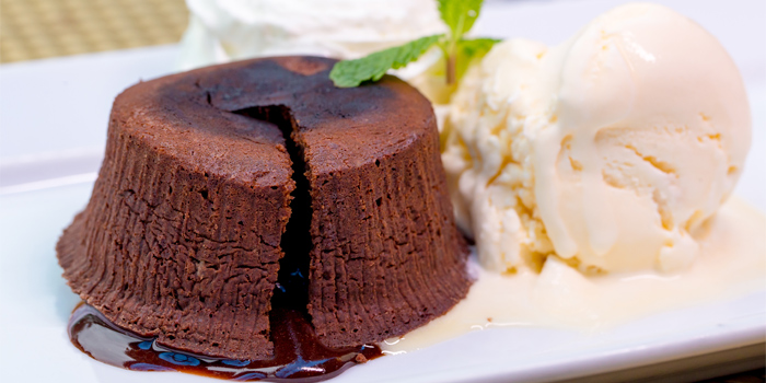 Lava Cake Home Made from Capri Noi Restaurant in Karon, Phuket, Thailand.