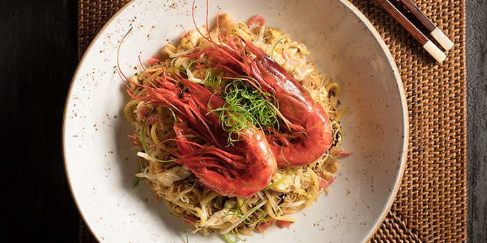 Carabinero Prawns & Konbu Mee from Po Restaurant at The Warehouse Hotel in Robertson Quay, Singapore