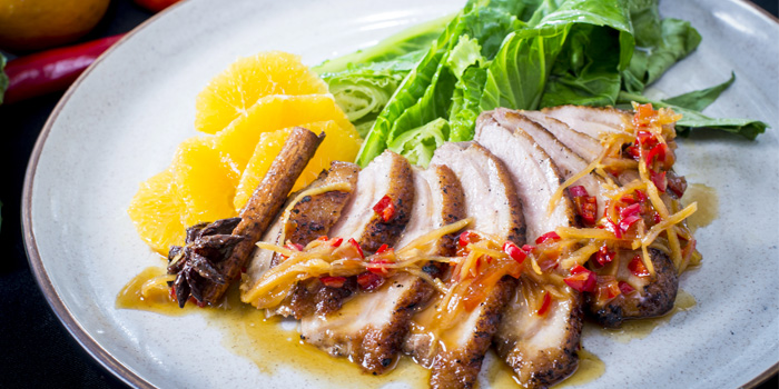 Roated Duck with Ginger Orange Sauce from HQ Beach Lounge on Kamala Beach, Phuket, Thailand