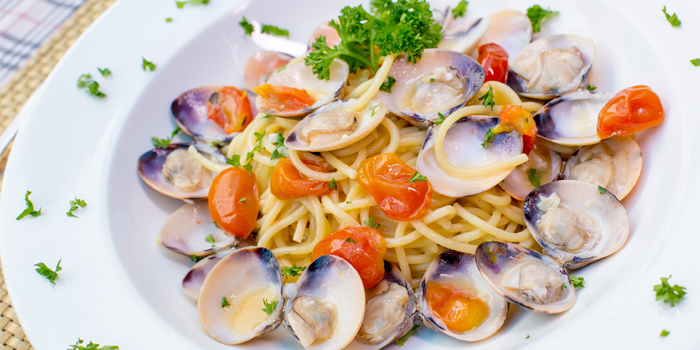 Spaghetti Vongole from Capri Noi Restaurant in Karon, Phuket, Thailand.