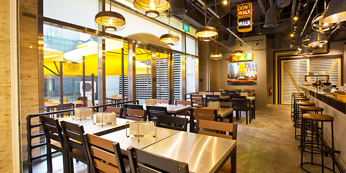 Interior of Yellow Cab Pizza Co. at CityLink Mall in City Hall, Singapore