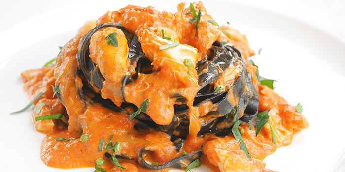 Squid Ink Fettuccine with Crab Meat from Acqua e Farina at The Rail Mall in Bukit Timah, Singapore
