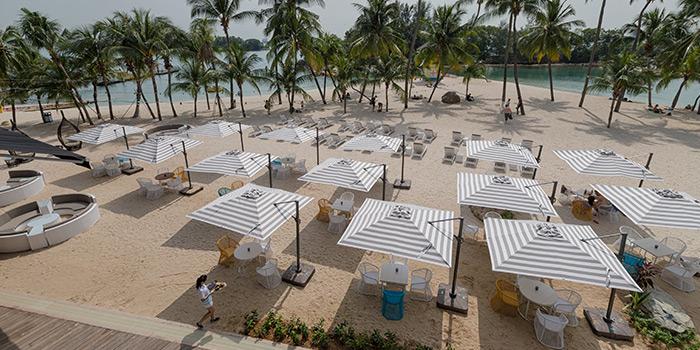 Beach Seating of Ola Beach Club at Siloso Beach in Sentosa, Singapore