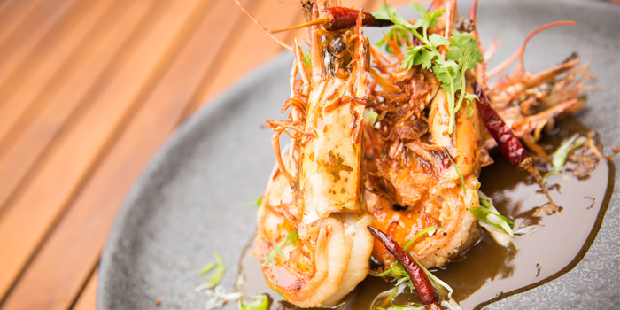 Goong Phad Sauce Makam from Sea Food at Trisara in Cherngtalay, Phuket, Thailand